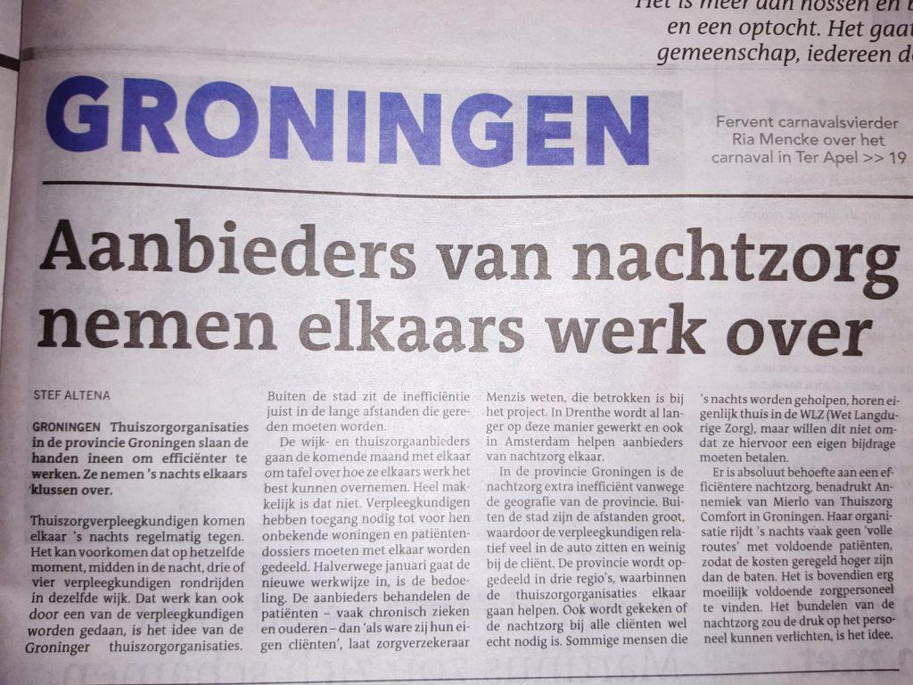 Dagblad van het Noorden - Thuiszorg Comfort - nachtzorg - zorg - krant - aanbieders van nachtzorg nemen elkaars werk over