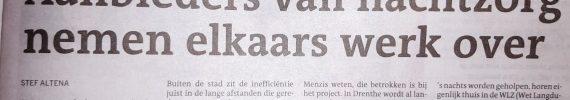 """Thuiszorg Comfort in artikel Dagblad van het Noorden """"Aanbieders van nachtzorg nemen elkaars werk over"""""""